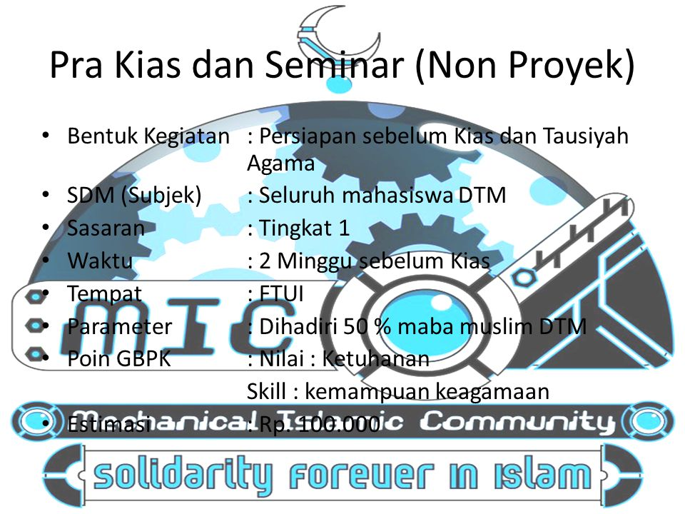 Pra Kias dan Seminar (Non Proyek)