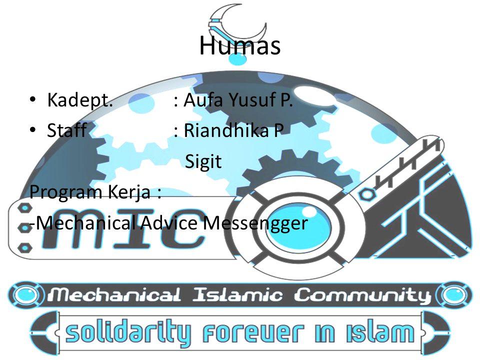 Humas Kadept. : Aufa Yusuf P. Staff : Riandhika P Program Kerja :