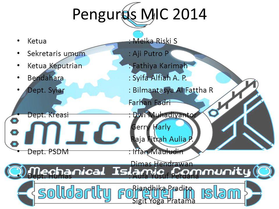Pengurus MIC 2014 Ketua : Meika Riski S Sekretaris umum : Aji Putro P