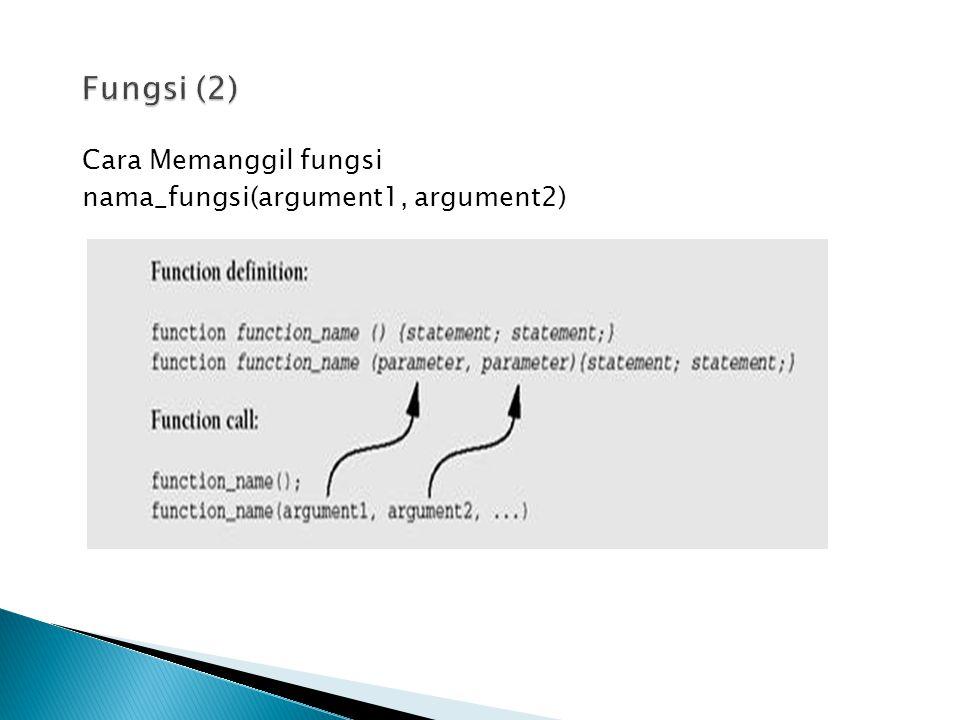 Fungsi (2) Cara Memanggil fungsi nama_fungsi(argument1, argument2)