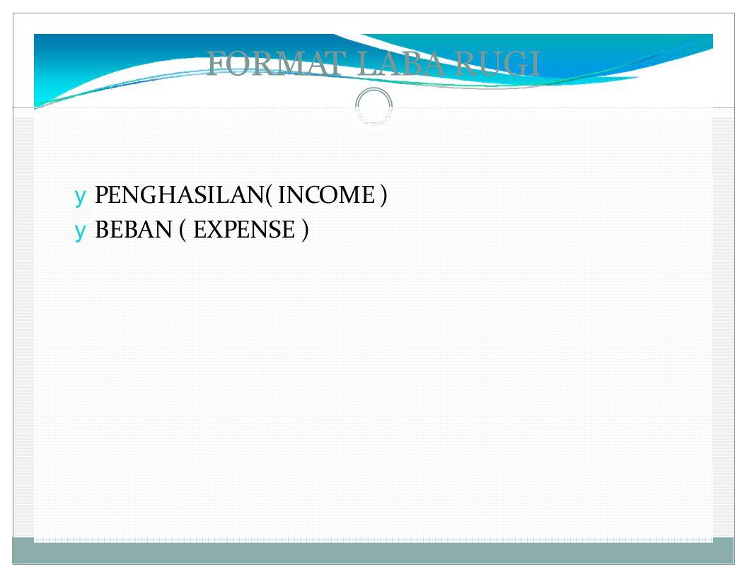 FORMAT LABA RUGI y PENGHASILAN( INCOME ) y BEBAN ( EXPENSE )