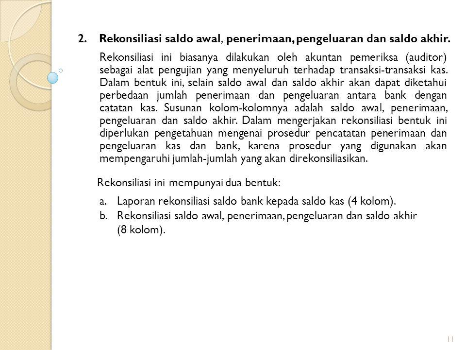 2. Rekonsiliasi saldo awal, penerimaan, pengeluaran dan saldo akhir.