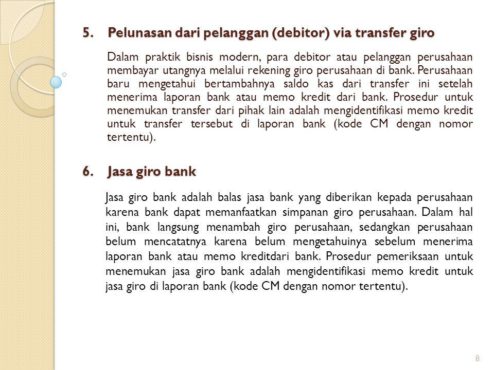 5. Pelunasan dari pelanggan (debitor) via transfer giro