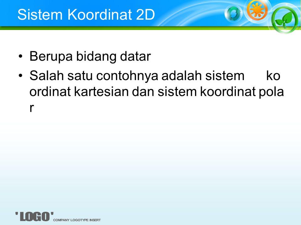 Sistem Koordinat 2D Berupa bidang datar