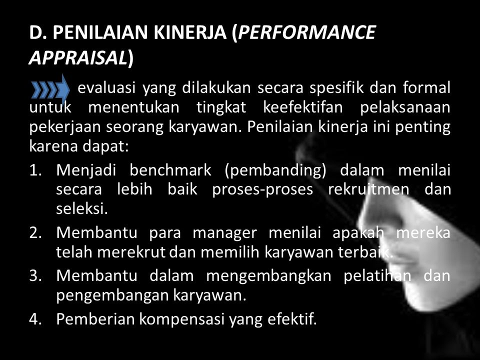 D. PENILAIAN KINERJA (PERFORMANCE APPRAISAL)