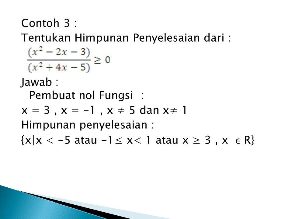 Contoh 3 : Tentukan Himpunan Penyelesaian dari : Jawab : Pembuat nol Fungsi : x = 3 , x = -1 , x ≠ 5 dan x≠ 1 Himpunan penyelesaian : {x|x < -5 atau -1≤ x< 1 atau x ≥ 3 , x ϵ R}