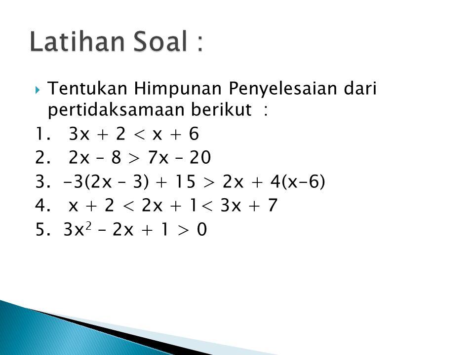 Latihan Soal : Tentukan Himpunan Penyelesaian dari pertidaksamaan berikut : 1. 3x + 2 < x + 6.