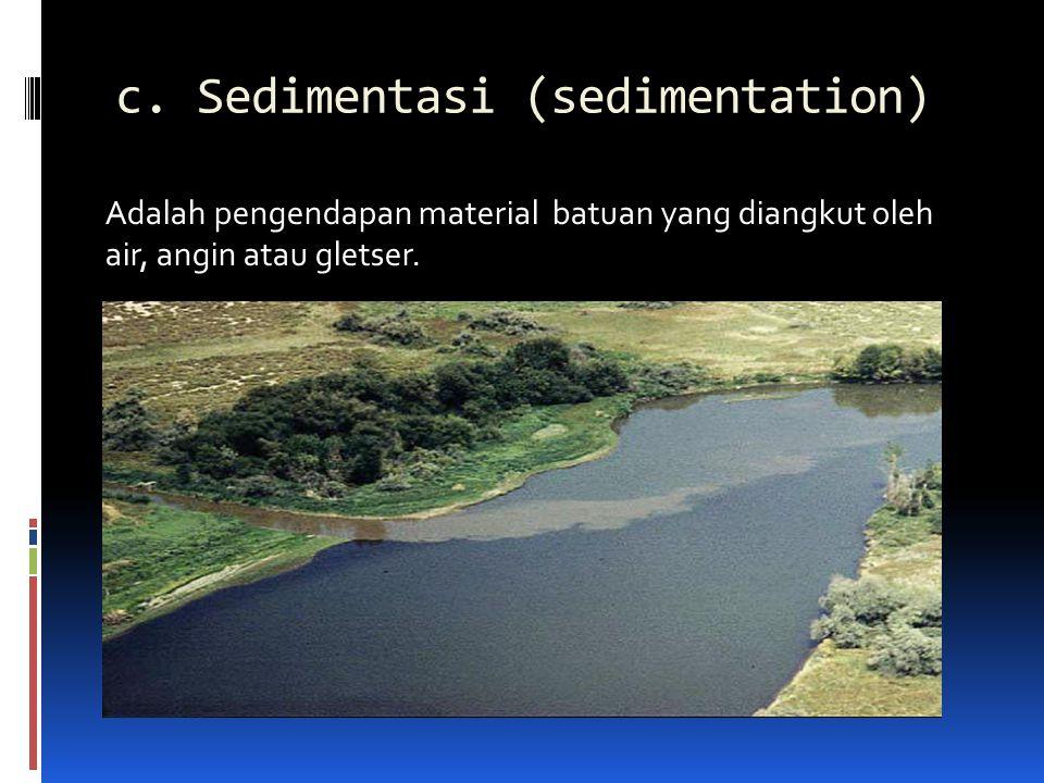 c. Sedimentasi (sedimentation)