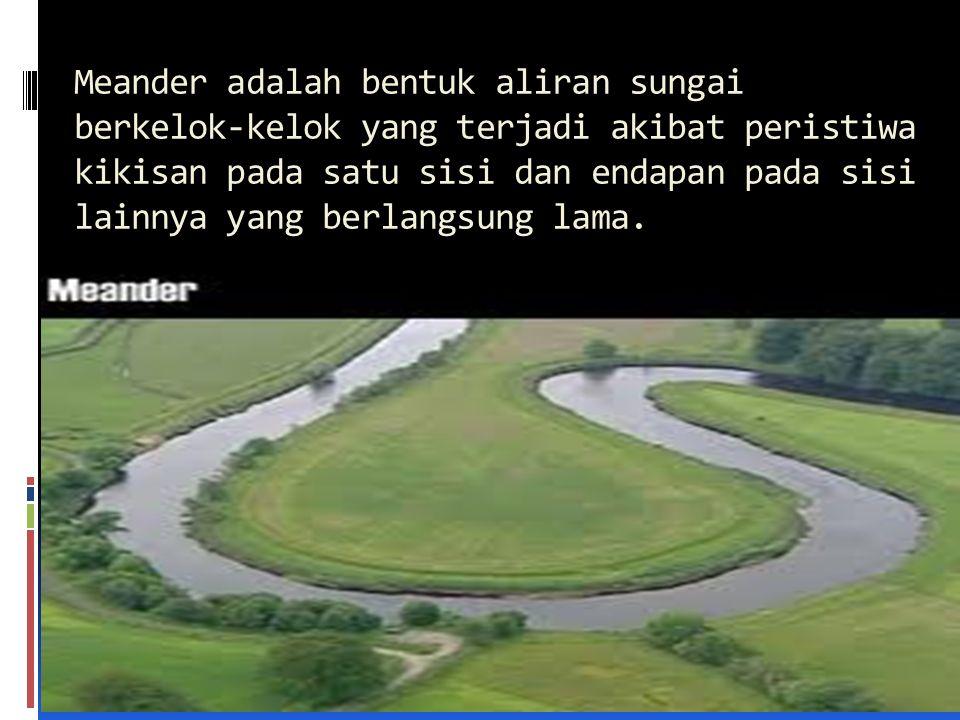 Meander adalah bentuk aliran sungai berkelok-kelok yang terjadi akibat peristiwa kikisan pada satu sisi dan endapan pada sisi lainnya yang berlangsung lama.
