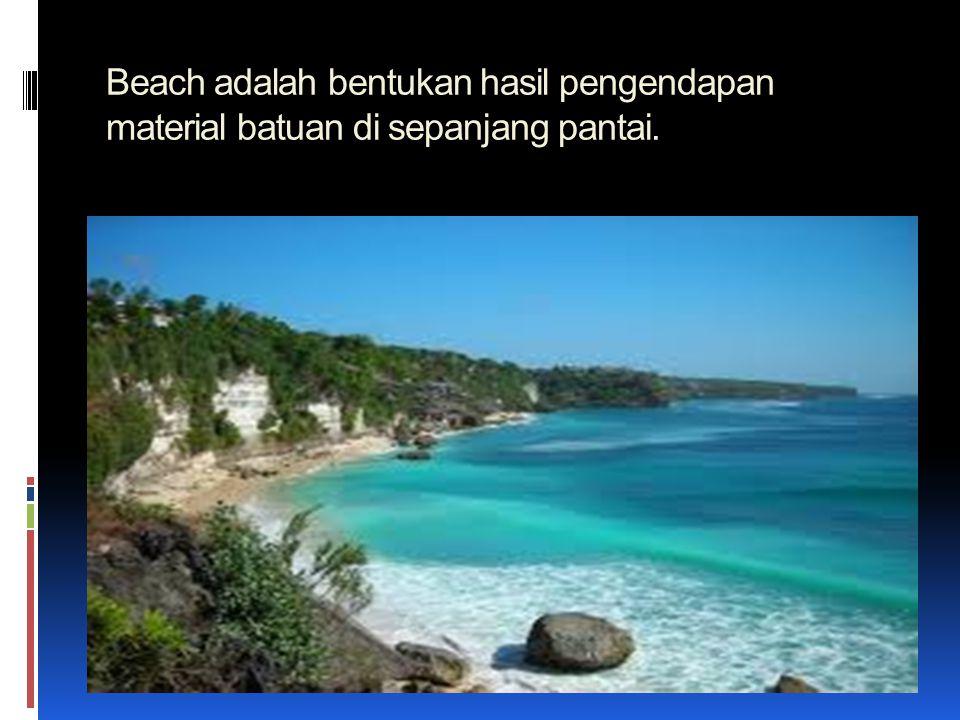 Beach adalah bentukan hasil pengendapan material batuan di sepanjang pantai.