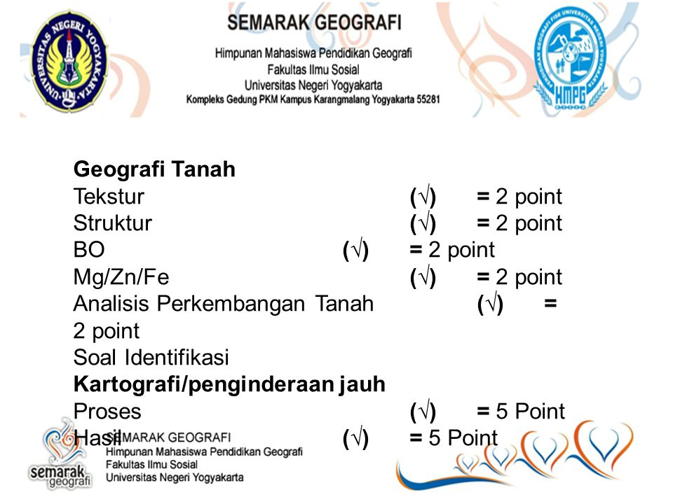 Geografi Tanah Tekstur (√) = 2 point. Struktur (√) = 2 point. BO (√) = 2 point. Mg/Zn/Fe (√) = 2 point.