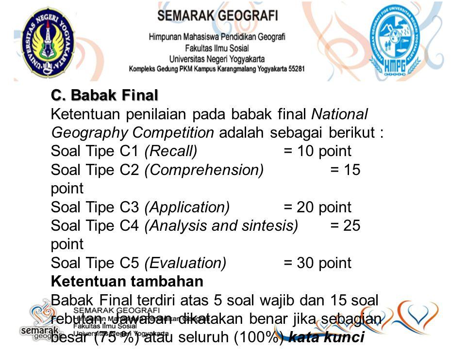 C. Babak Final Ketentuan penilaian pada babak final National Geography Competition adalah sebagai berikut :