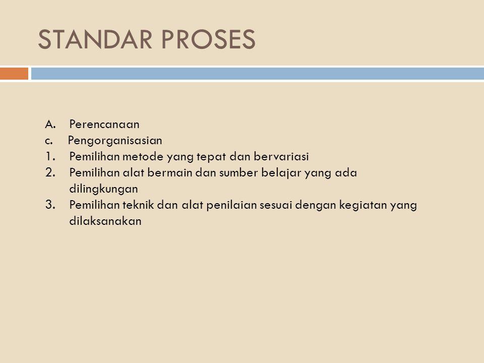 STANDAR PROSES Perencanaan c. Pengorganisasian