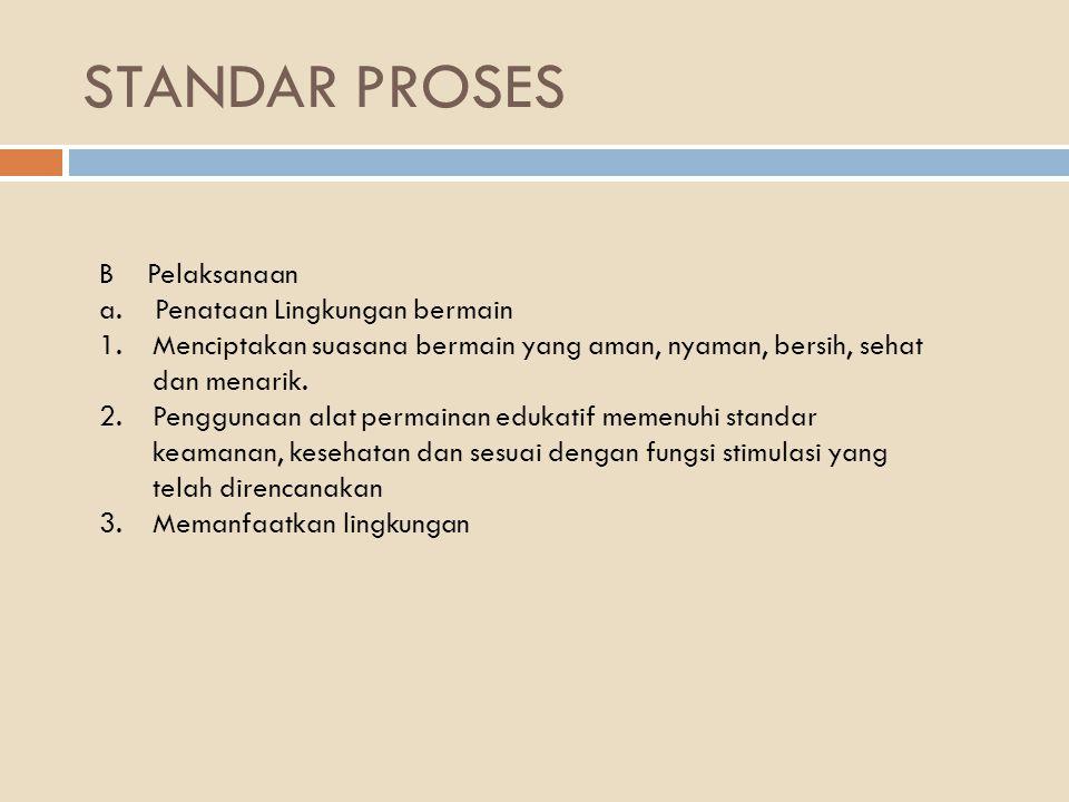 STANDAR PROSES B Pelaksanaan a. Penataan Lingkungan bermain
