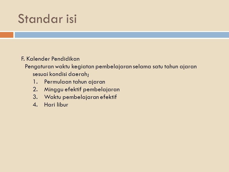 Standar isi F. Kalender Pendidikan