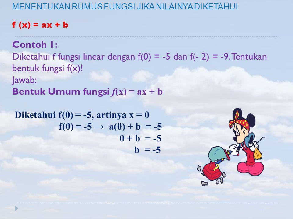 Bentuk Umum fungsi f(x) = ax + b Diketahui f(0) = -5, artinya x = 0