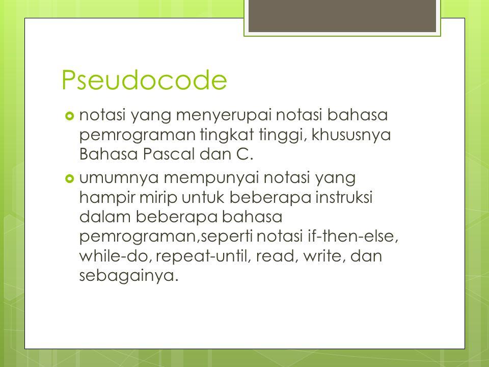 Pseudocode notasi yang menyerupai notasi bahasa pemrograman tingkat tinggi, khususnya Bahasa Pascal dan C.