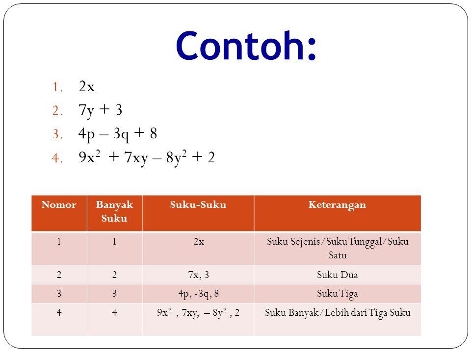 Contoh: 2x 7y + 3 4p – 3q + 8 9x2 + 7xy – 8y2 + 2 Nomor Banyak Suku