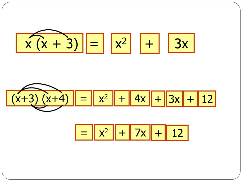 x (x + 3) = x2 + 3x (x+3) (x+4) = x2 + 4x + 3x + 12 = x2 7x + 12