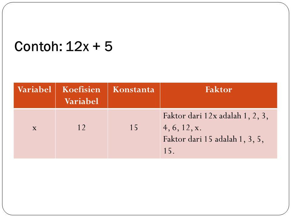 Contoh: 12x + 5 Variabel Koefisien Variabel Konstanta Faktor x 12 15
