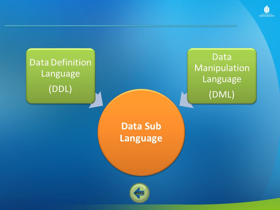 Data Sub Language Data Manipulation Language Data Definition Language