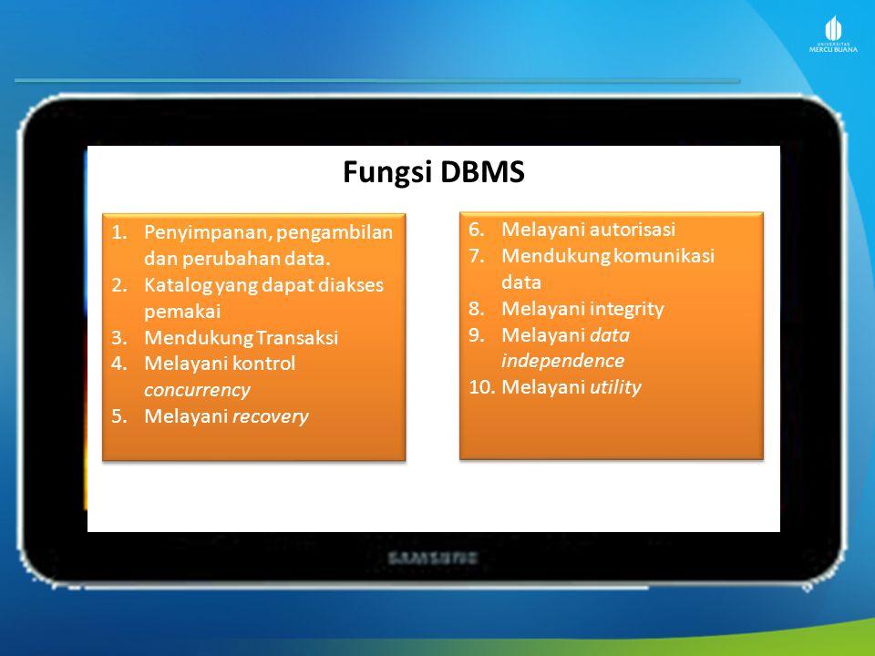 Fungsi DBMS Penyimpanan, pengambilan dan perubahan data.