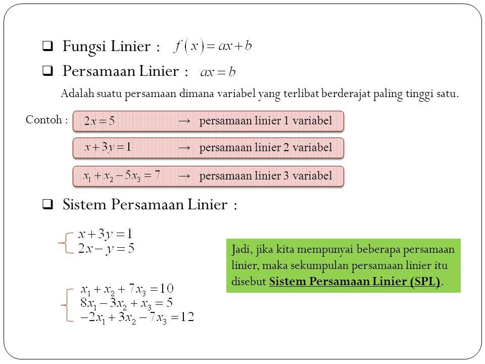 Sistem Persamaan Linier :
