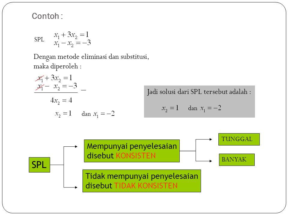 SPL Contoh : Dengan metode eliminasi dan substitusi, maka diperoleh :