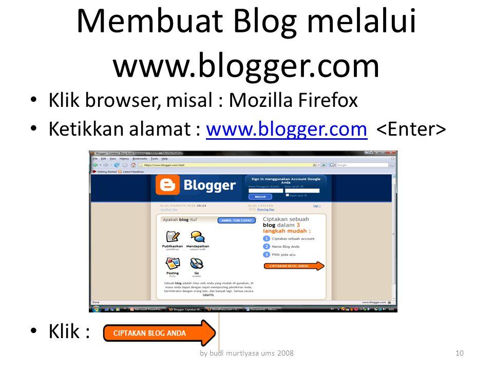 Membuat Blog melalui www.blogger.com
