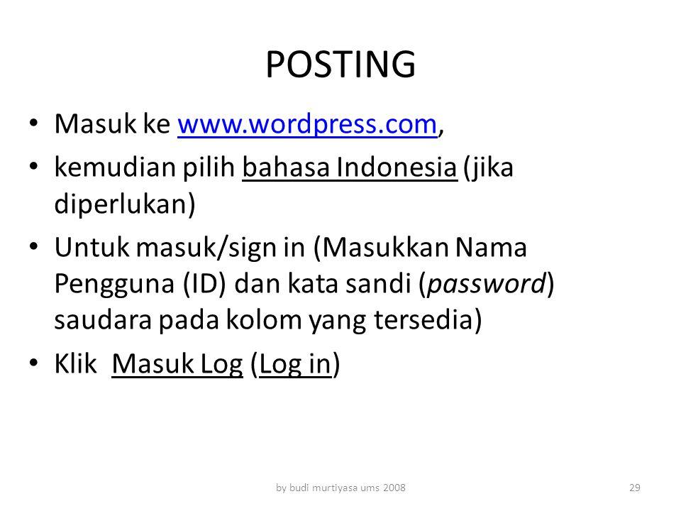 POSTING Masuk ke www.wordpress.com,