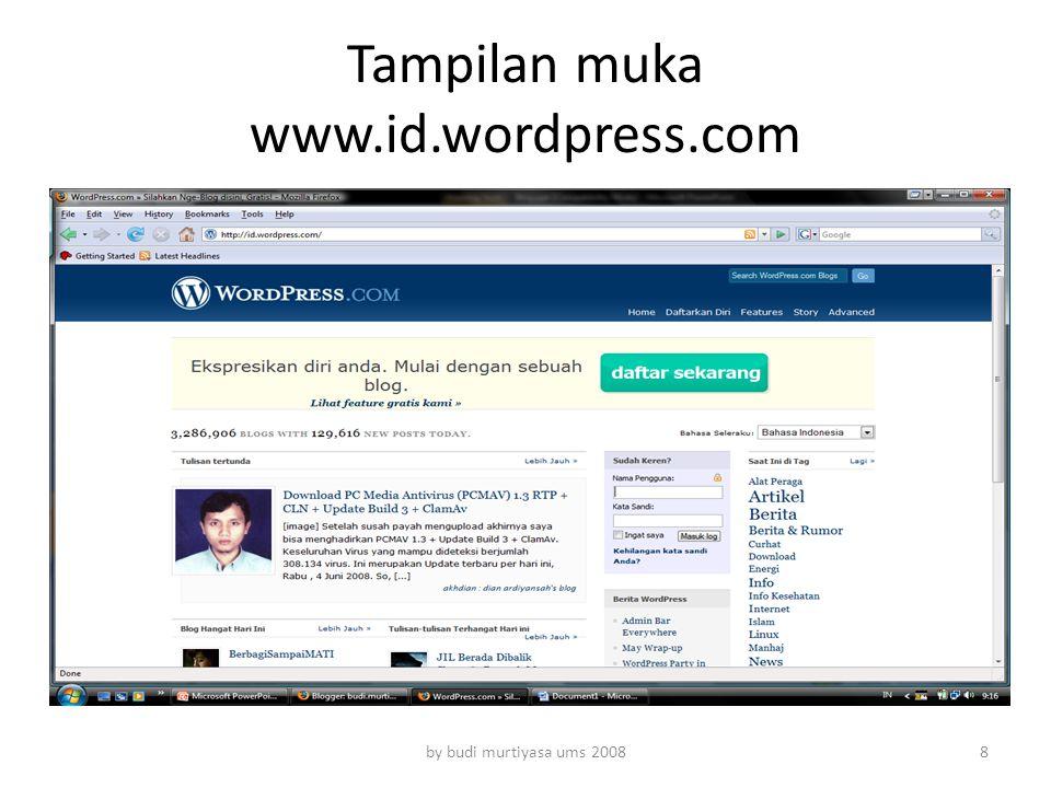 Tampilan muka www.id.wordpress.com