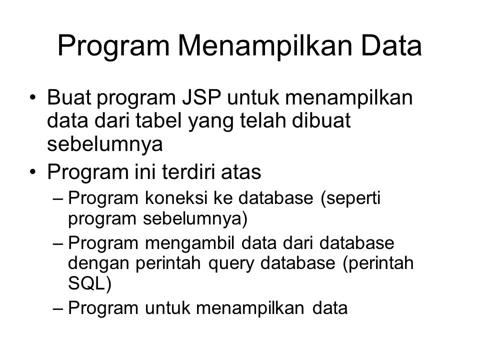 Program Menampilkan Data