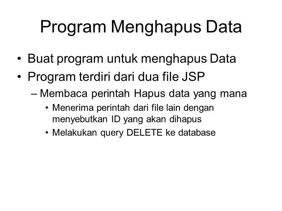 Program Menghapus Data