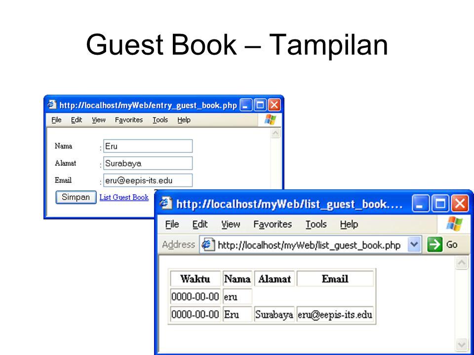 Guest Book – Tampilan