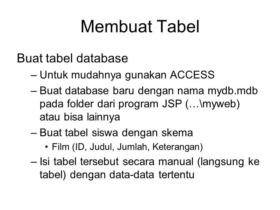 Membuat Tabel Buat tabel database Untuk mudahnya gunakan ACCESS