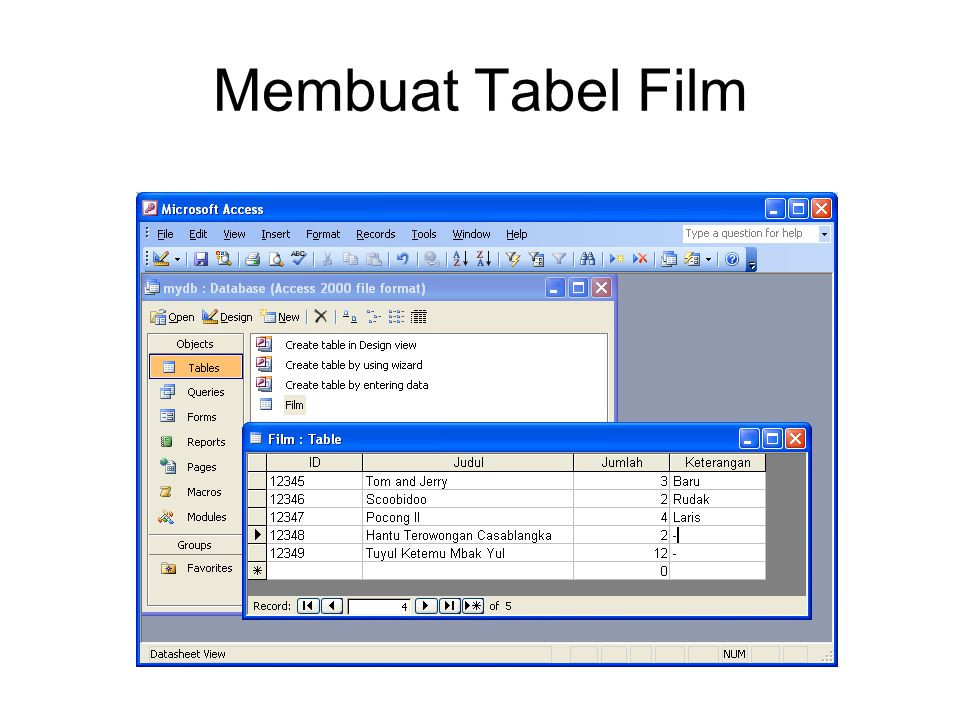 Membuat Tabel Film