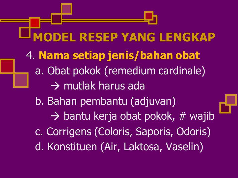 MODEL RESEP YANG LENGKAP