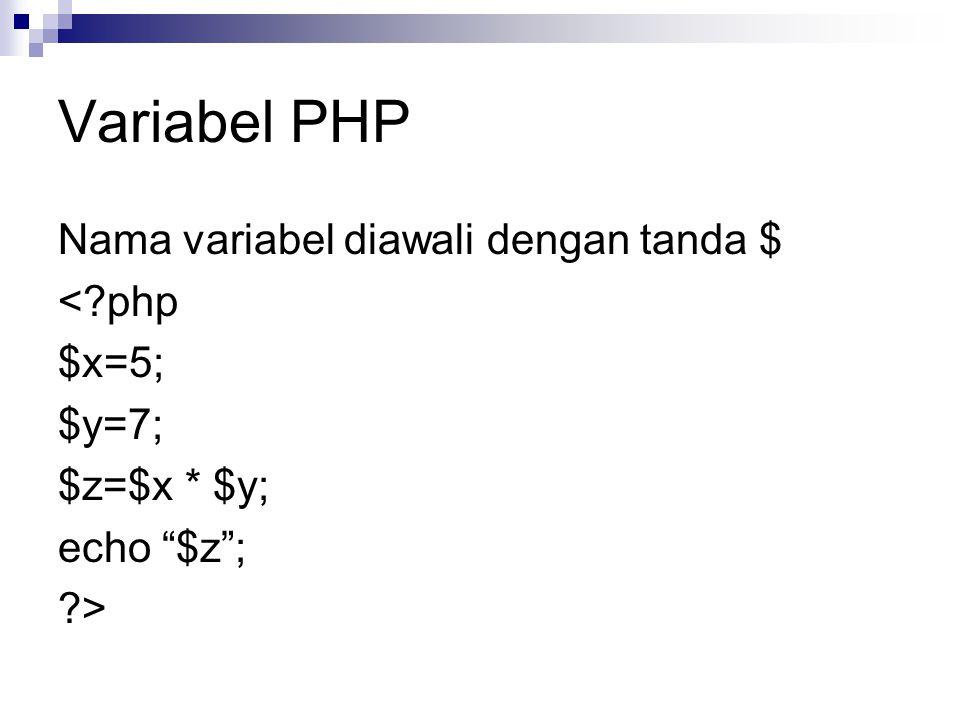 Variabel PHP Nama variabel diawali dengan tanda $ < php $x=5; $y=7;