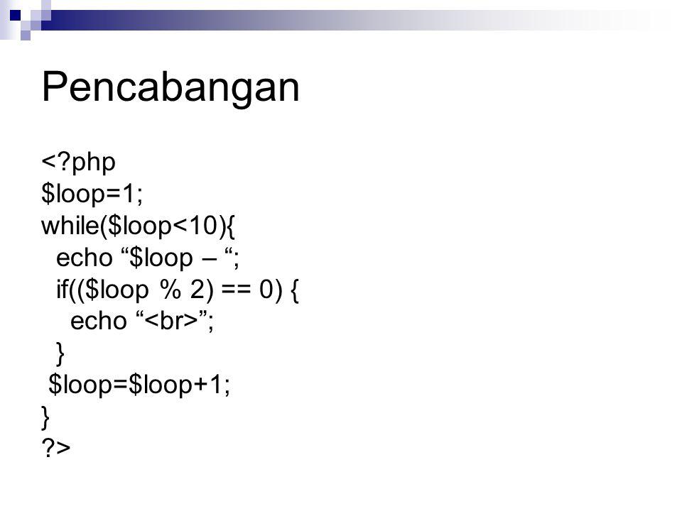 Pencabangan < php $loop=1; while($loop<10){ echo $loop – ;