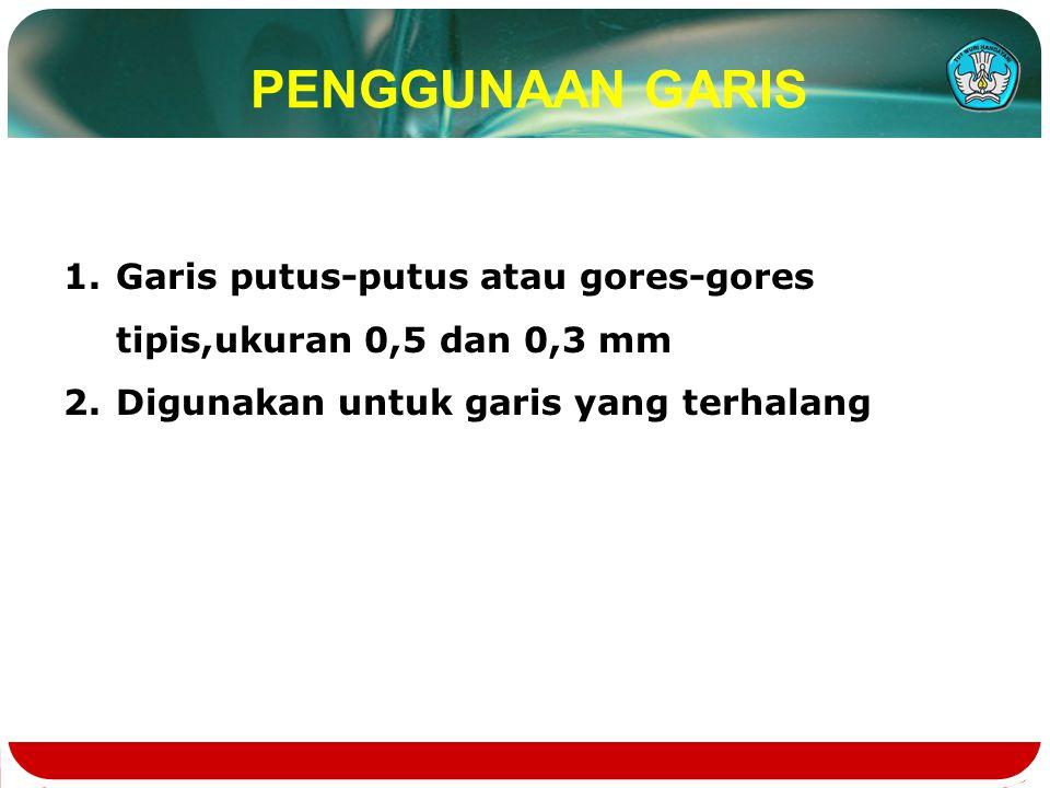 PENGGUNAAN GARIS Garis putus-putus atau gores-gores tipis,ukuran 0,5 dan 0,3 mm.