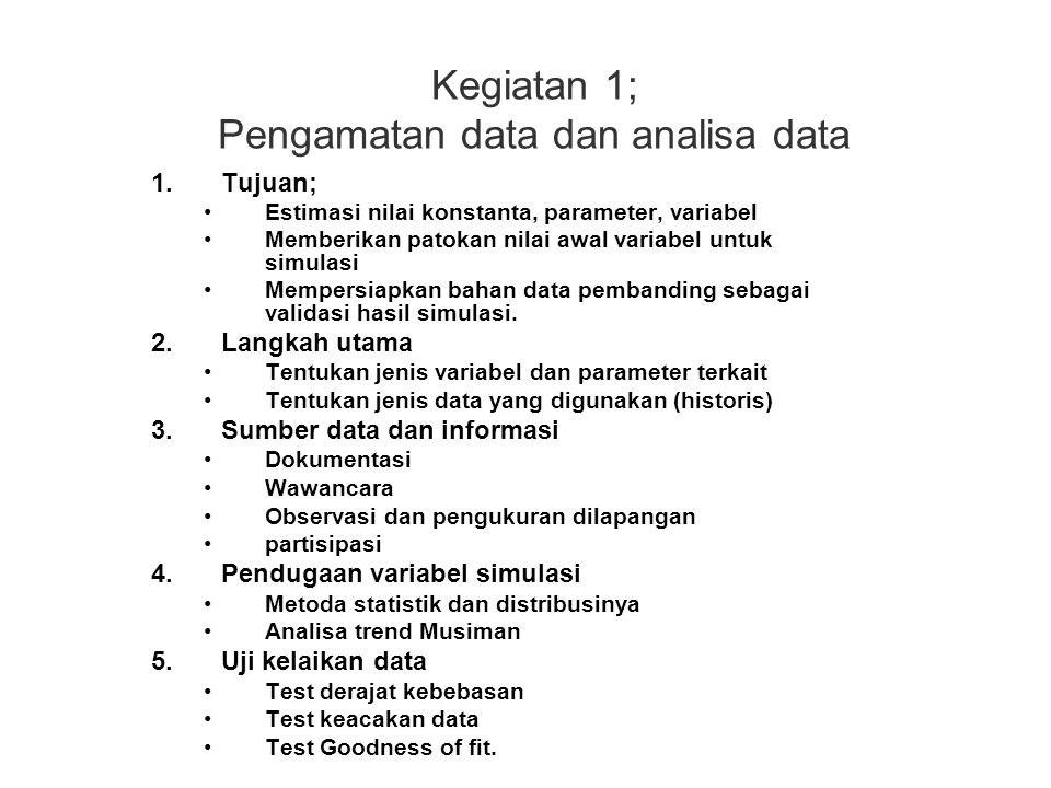 Kegiatan 1; Pengamatan data dan analisa data