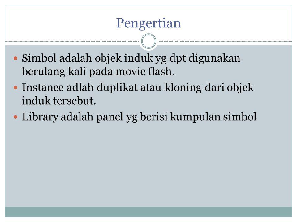 Pengertian Simbol adalah objek induk yg dpt digunakan berulang kali pada movie flash.