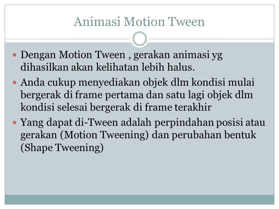 Animasi Motion Tween Dengan Motion Tween , gerakan animasi yg dihasilkan akan kelihatan lebih halus.