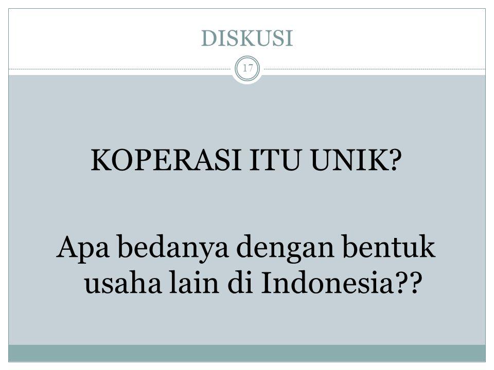 KOPERASI ITU UNIK Apa bedanya dengan bentuk usaha lain di Indonesia