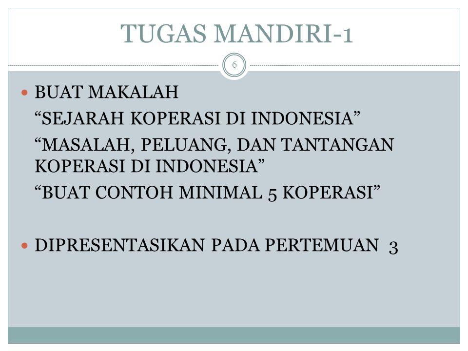 TUGAS MANDIRI-1 BUAT MAKALAH SEJARAH KOPERASI DI INDONESIA