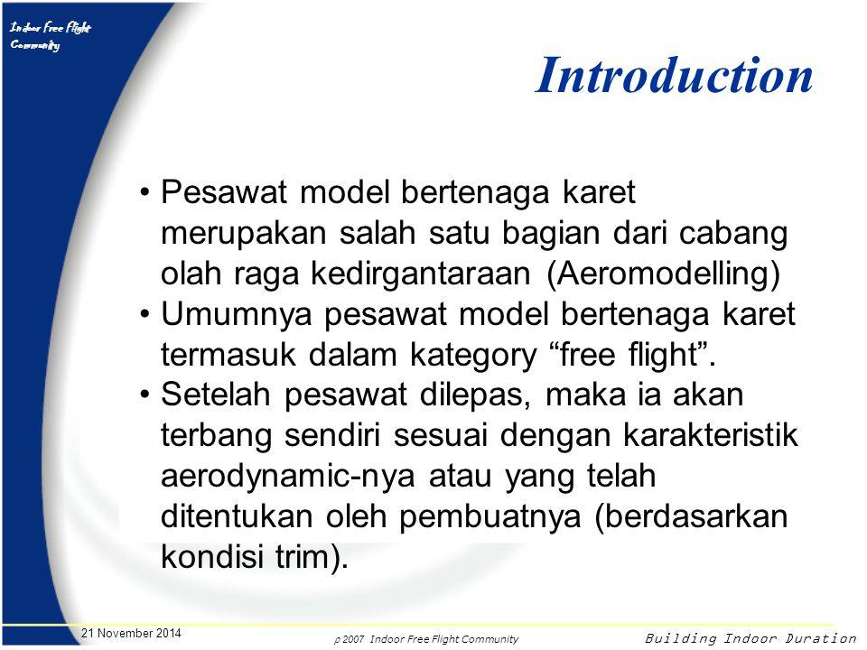 Introduction Pesawat model bertenaga karet merupakan salah satu bagian dari cabang olah raga kedirgantaraan (Aeromodelling)