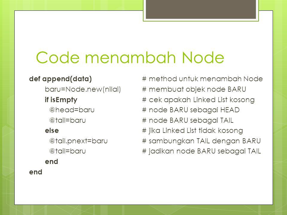 Code menambah Node