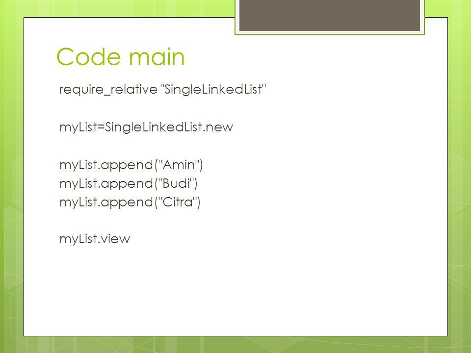 Code main