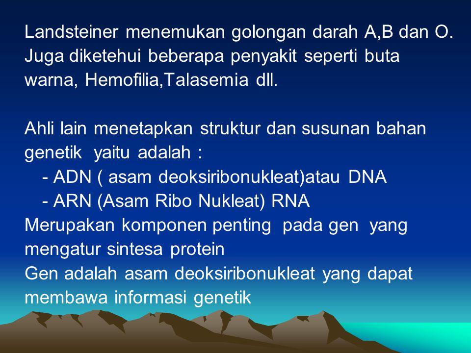 Landsteiner menemukan golongan darah A,B dan O.