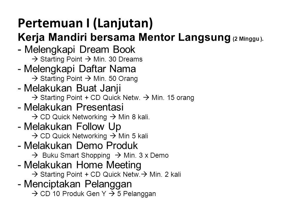 Pertemuan I (Lanjutan) Kerja Mandiri bersama Mentor Langsung (2 Minggu ).